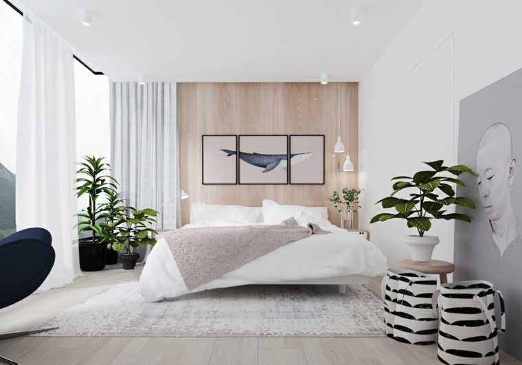 Arredare camera da letto moderna, parete in legno, decorazioni con piante foglia verde