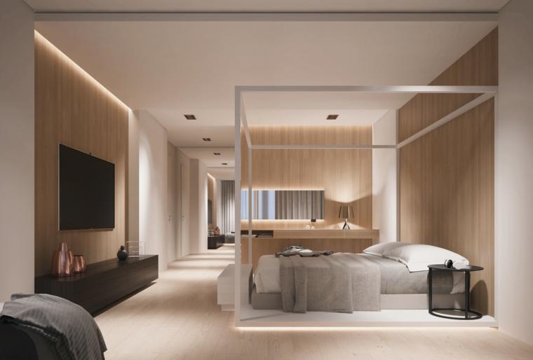Pareti colorate camera da letto, letto con struttura di legno, mobile tv basso in legno