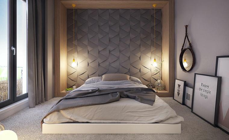 Camera da letto con parete pannello, specchio rotondo da parete, letto basso