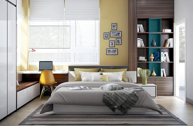 camere da letto moderne accenti colore giallo
