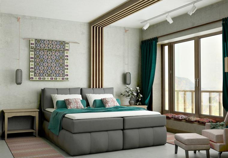 Arredare camera da letto modern, letto con imbottitura, soffitto con faretti