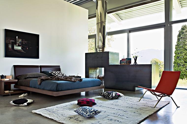 camere da letto moderne design originale camino