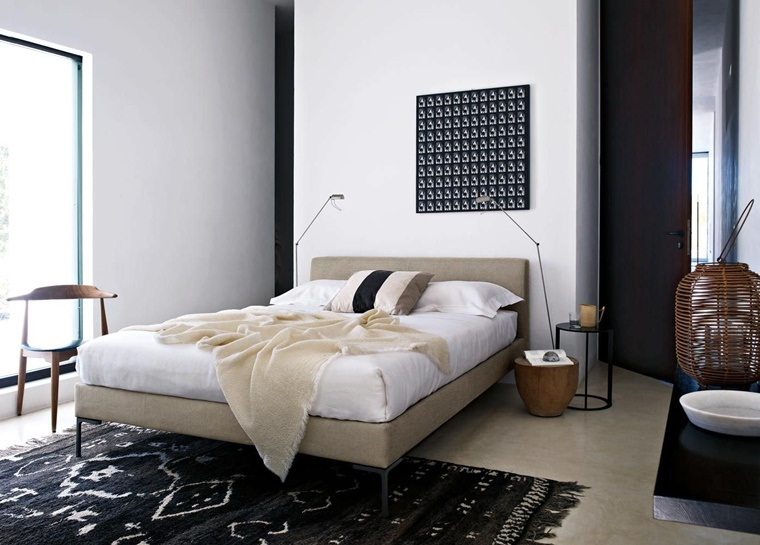 camere da letto moderne idea accenti colore nero
