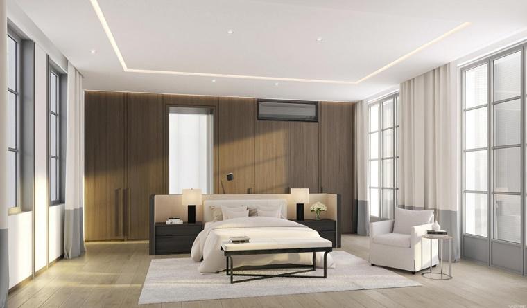 camere da letto moderne idea pannello legno