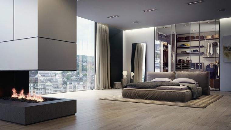 camere da letto moderne idea parete divisoria camino