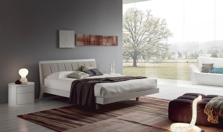 camere da letto moderne idee comodino forma rotonda