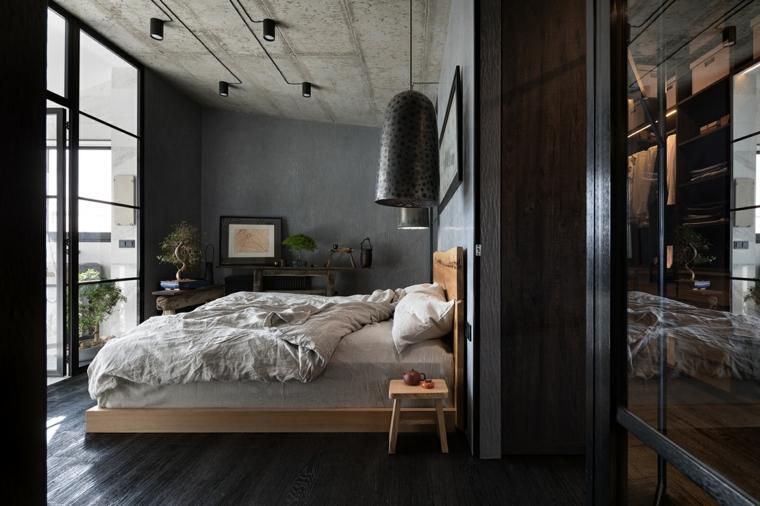Come arredare una camera da letto piccola, camera con letto di legno, soffitto con faretti