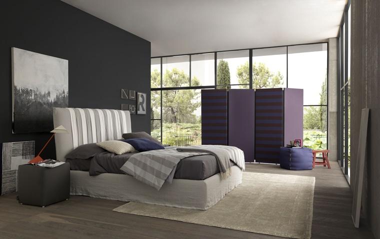camere da letto moderne parete colore scuro