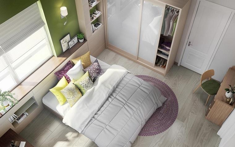 camere da letto moderne parete colore verde