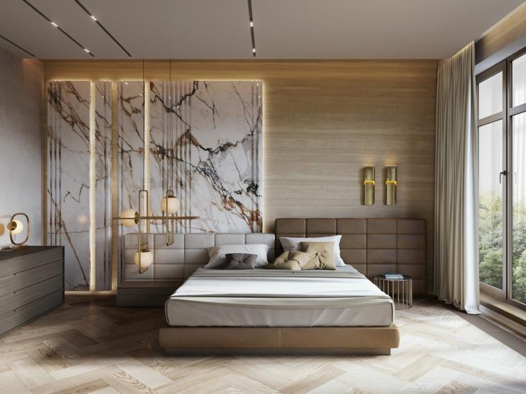 Come abbellire camera da letto, testata letto in pelle, parete in marmo, lampadari sospesi