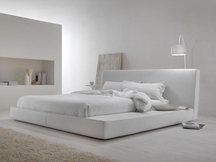 camere da letto moderne stile minimal total white