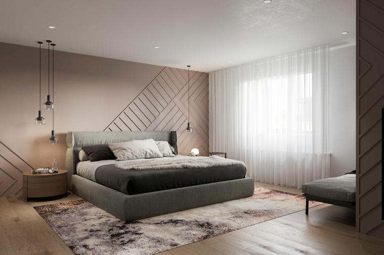 Come arredare una camera da letto piccola, letto in tessuto, disegni sulle pareti, pavimento in legno