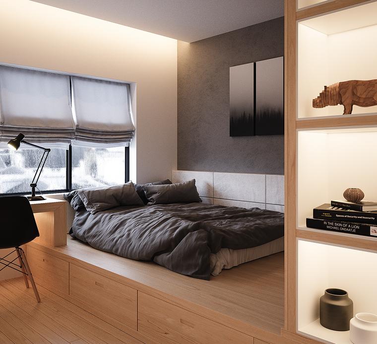 Come arredare una camera da letto piccola, soppalco in legno, mobile con mensole di legno