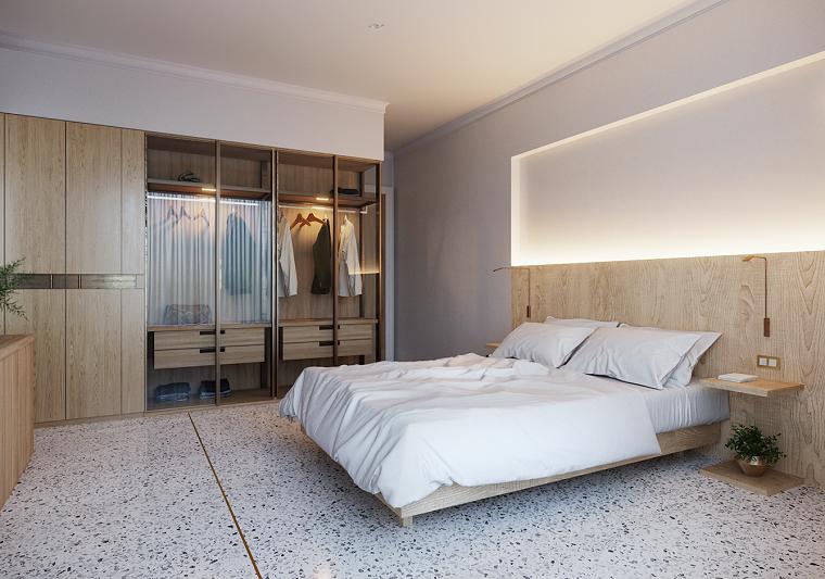 Colori camera da letto, testata letto in legno, armadio a vista, pavimento in marmo