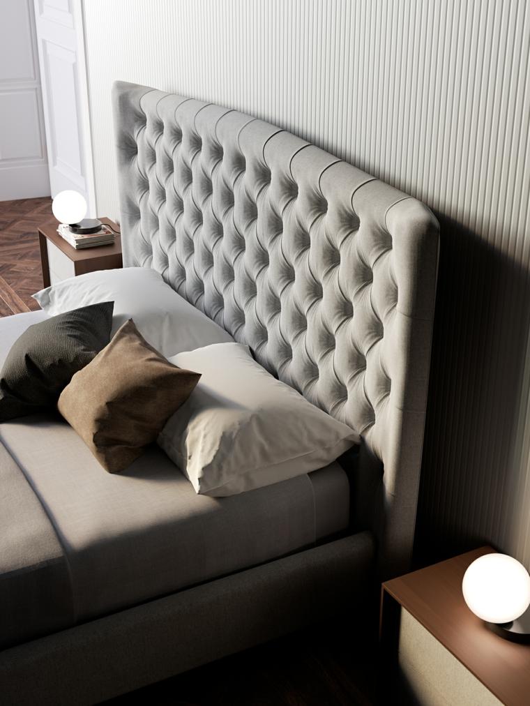 Camere da letto moderne, letto con testata imbottita, comodino in legno, lampade a sfera