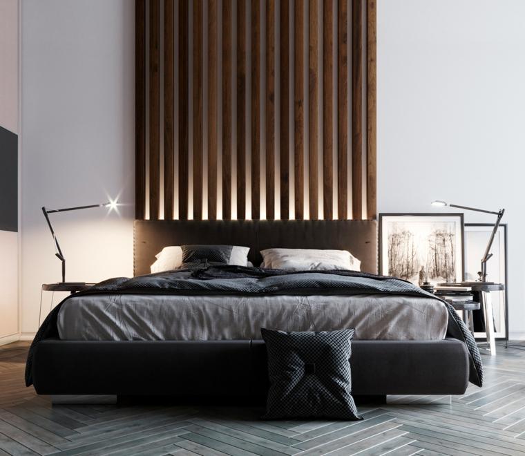 Camere da letto moderne, parete in legno, letto con retroilluminazione, pavimento in legno