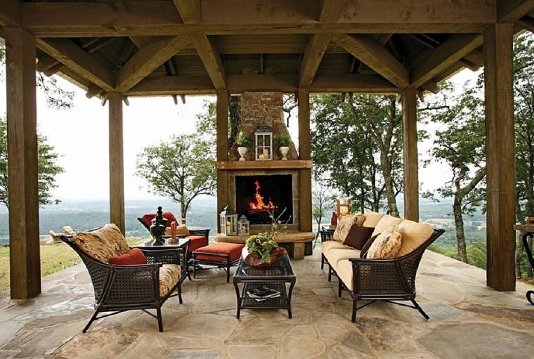 caminetti da esterno patio elegante confortevole