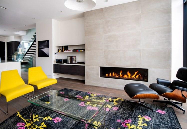 caminetti moderni soggiorni arredati tappetti motivi floreali