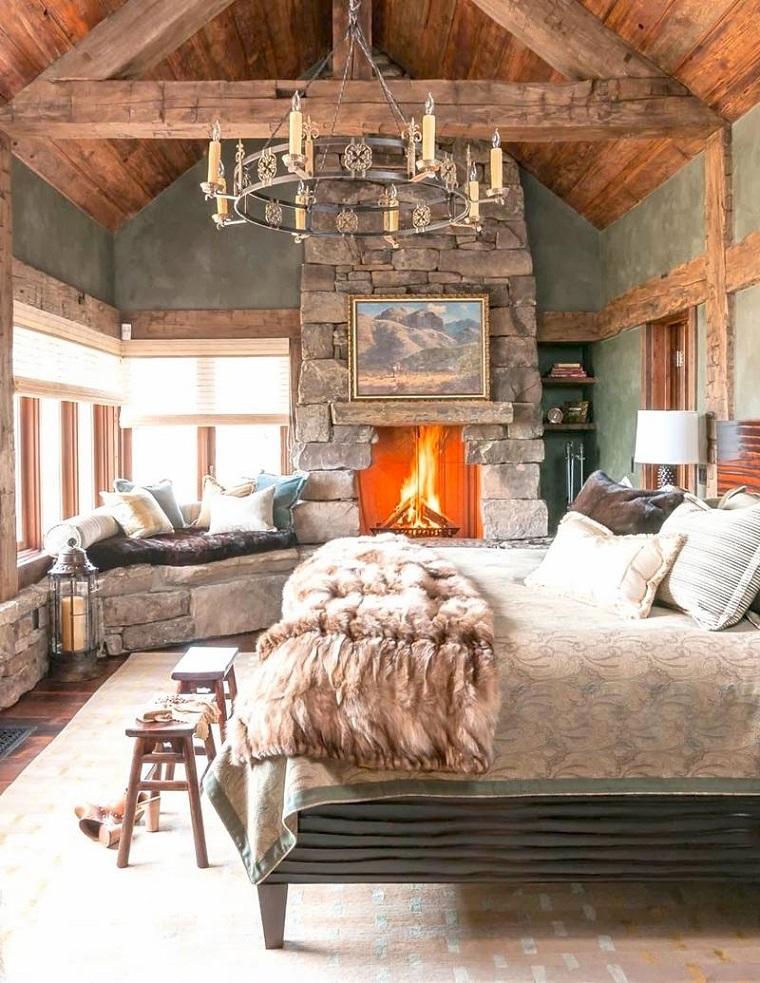 Camini in pietra idee e suggerimenti dal rustico al for Arredamento rustico moderno camera da letto