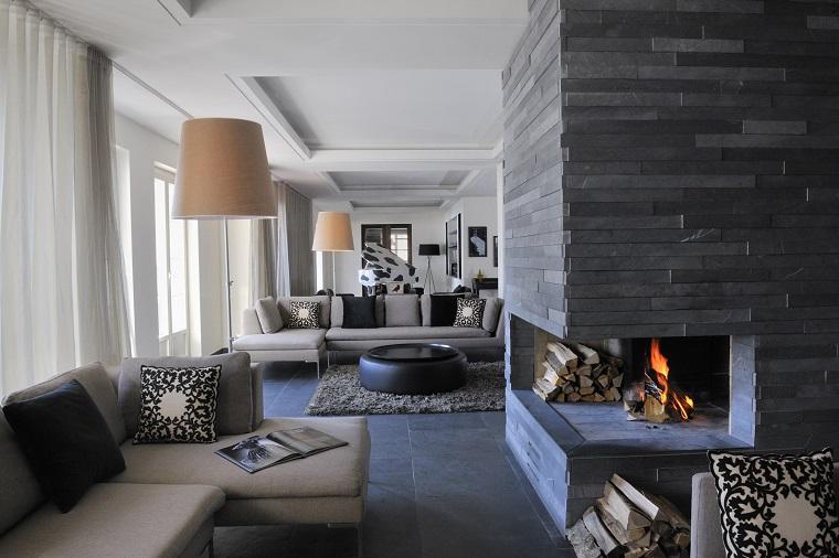 camini in pietra soggiorno design contemporaneo