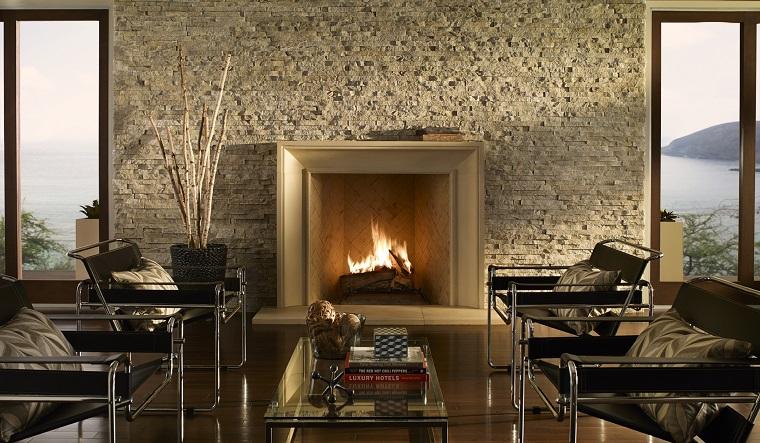 camini in pietra soggiorno mobili design moderno