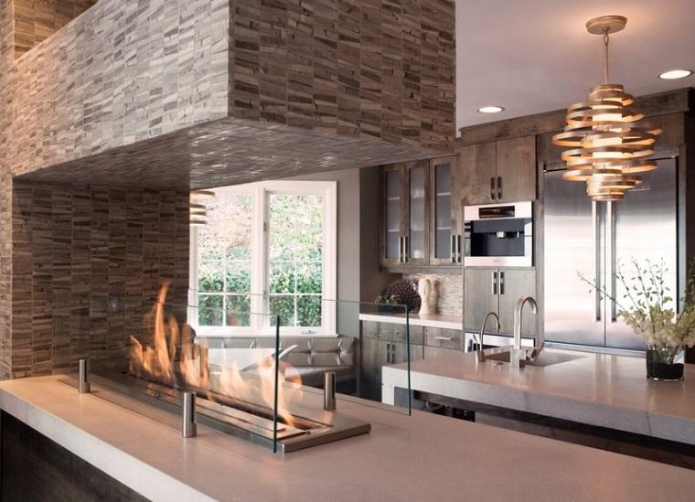 camini moderni inserti vetro cucina