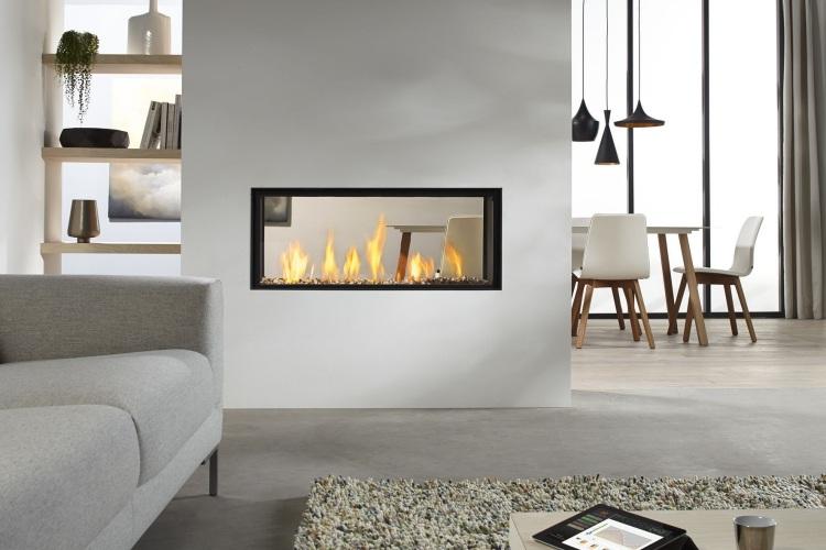 camino moderno parete divisoria soggiorno stile minimal