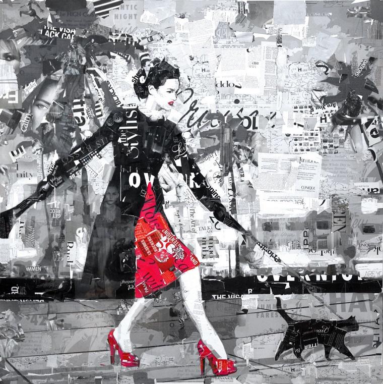collage foto idea grigio rosso nero