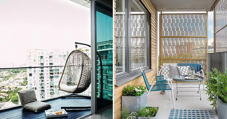 Come arredare un piccolo terrazzo coperto, collage di due foto di balcone con mobili