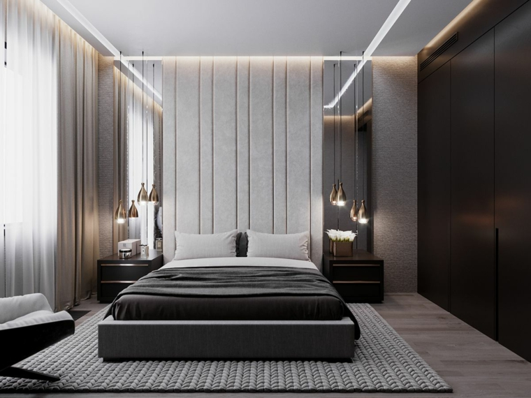 Camere matrimoniali moderne, tappeto di colore grigio, armadio a muro nero
