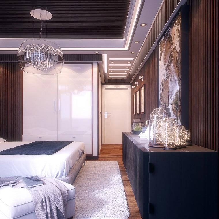 Camere matrimoniali moderne, armadio a muro lucido, lampadario di vetro