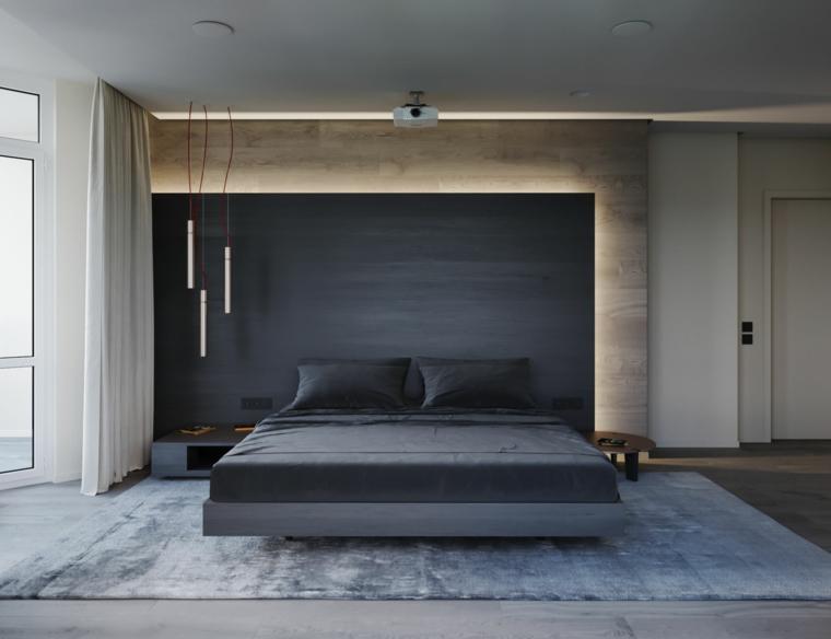 Parete in legno nera, tre lampade sospese, letto in legno sospeso, arredare camera da letto moderna