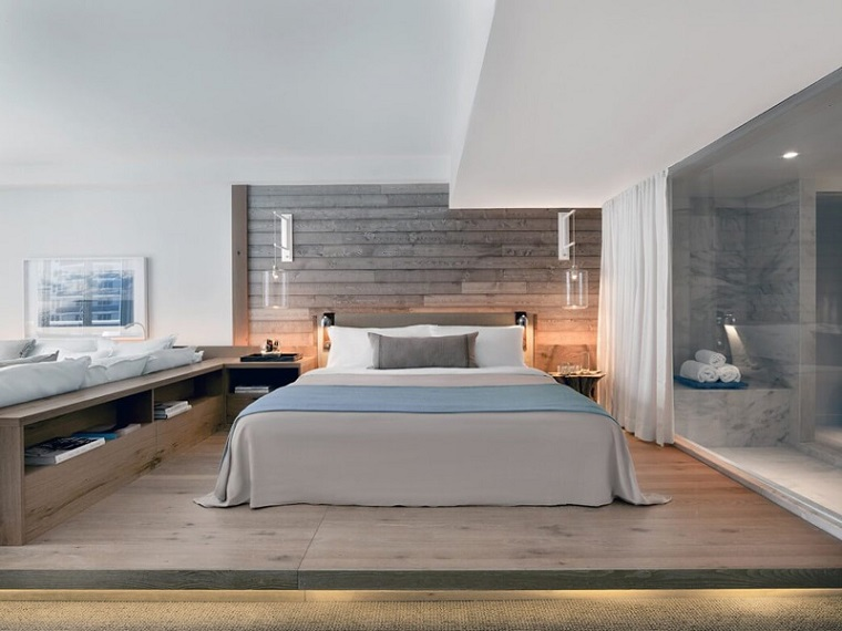 Camere matrimoniali moderne, parete in legno, camera con bagno padronale