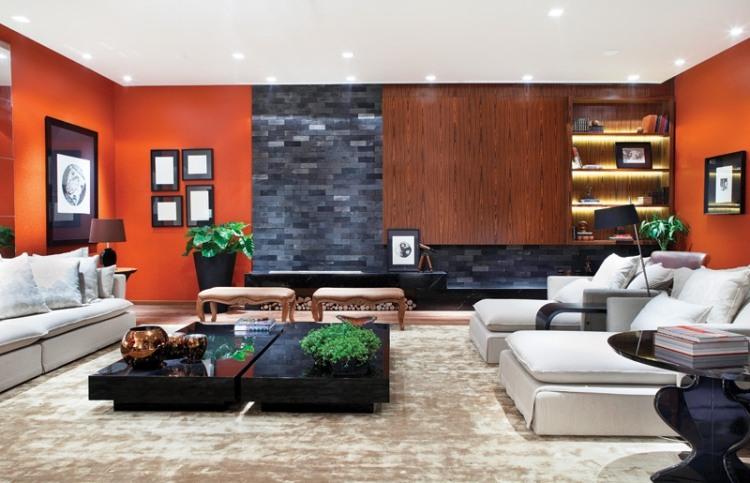 Saloni moderni - il gioco delle tonalità calde, fredde e neutre sulle pareti