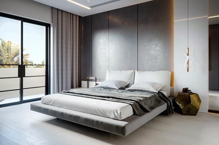 Come arredare una camera da letto piccola, letto in sospensione, comodino forma irregolare