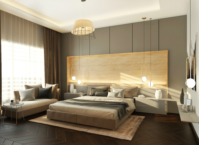 Pareti colorate camera da letto, parete in legno, lampade in sospensione, chaise lounge e tavolino