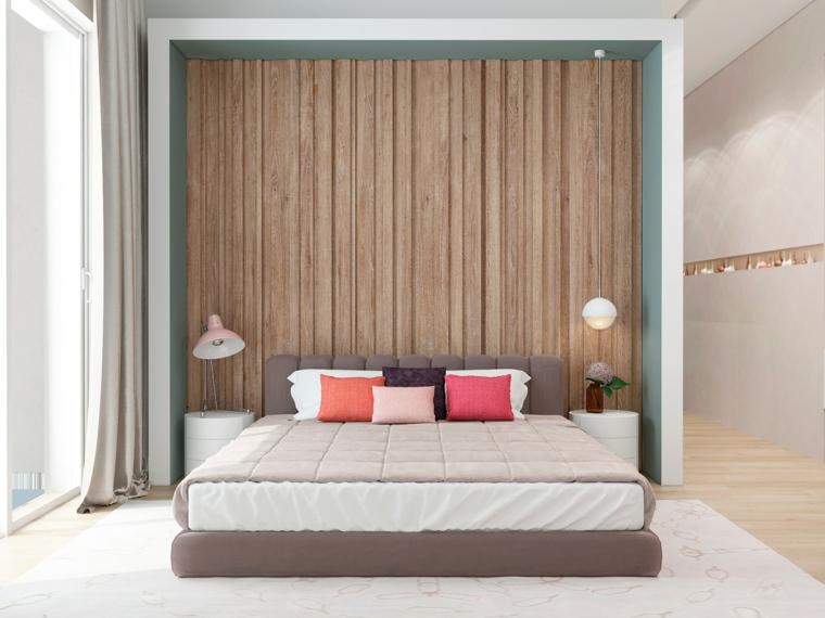 Camere da letto moderne, parete in legno, comodini bianco rotondi, pavimento in legno chiaro
