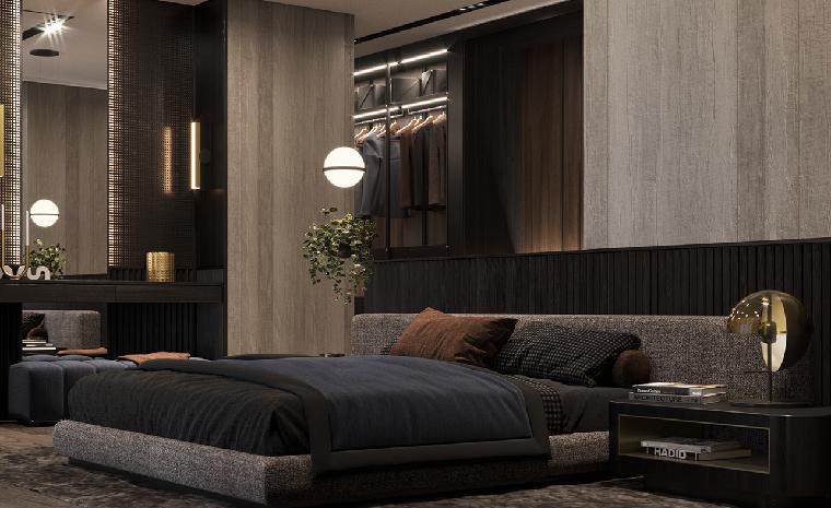 Colori camera da letto, letto con testata in tessuto, pareti in legno chiaro, lampade in sospensione