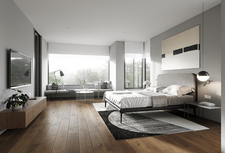 Mobile tv sospeso, camera da letto con divano, pavimento in legno, colori camera da letto