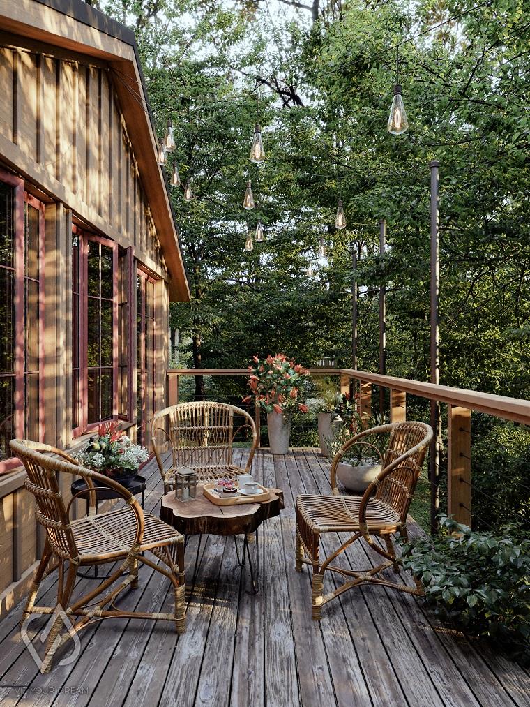 come abbellire un terrazzo stile rustico arredamento con set di mobili in legno