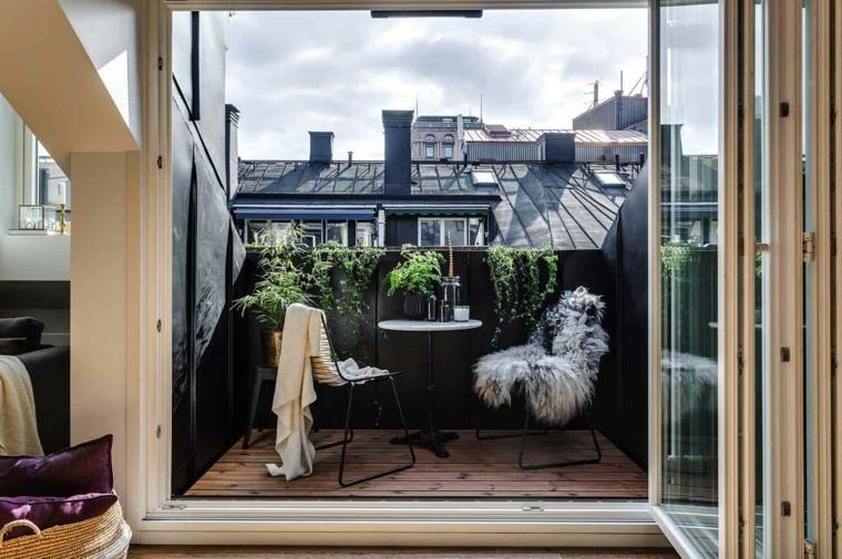 Come arredare un terrazzo, set di mobili tavolo con sedie, terrazzo con pavimentazione in legno