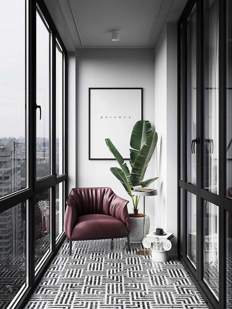 come arredare un piccolo terrazzo coperto arredamento balcone con poltrona di pelle pavimento in piastrelle