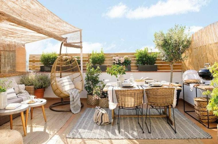 Come abbellire un terrazzo, set di mobili tavolo da pranzo e sedie, pavimentazione balcone con tappeto