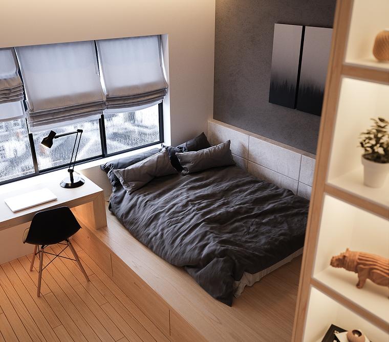 Arredare camera da letto moderna, letto con soppalco in legno, scrivani di legno