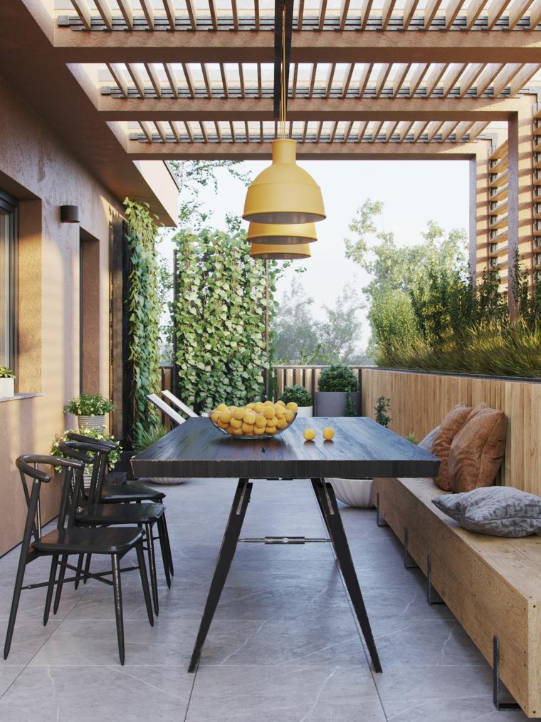 come coprire un terrazzo con pergola di legno arredamento panchina e tavolo lungo