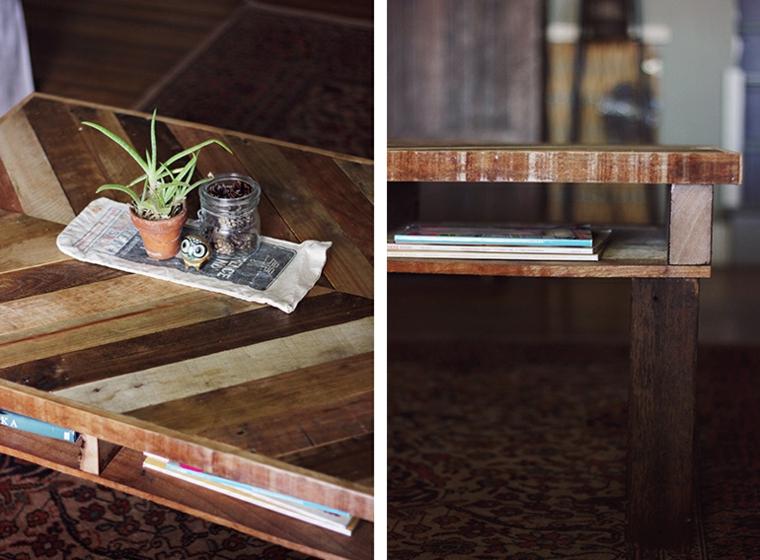 Tavolo con pallet, tavolino di legno in pallet con centrotavola vaso con pianta