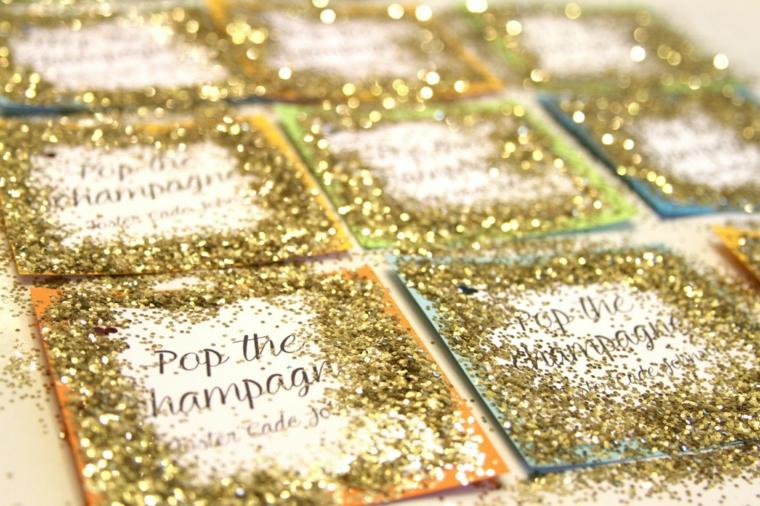 come decorare un bigliettino con glitter bomboniere fatte in casa