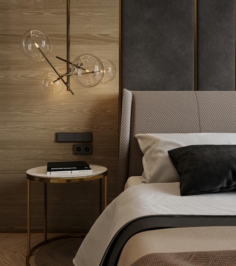 Comodino in metallo, letto con testata colore grigio, lampada con sfere di vetro, camere matrimoniali moderne