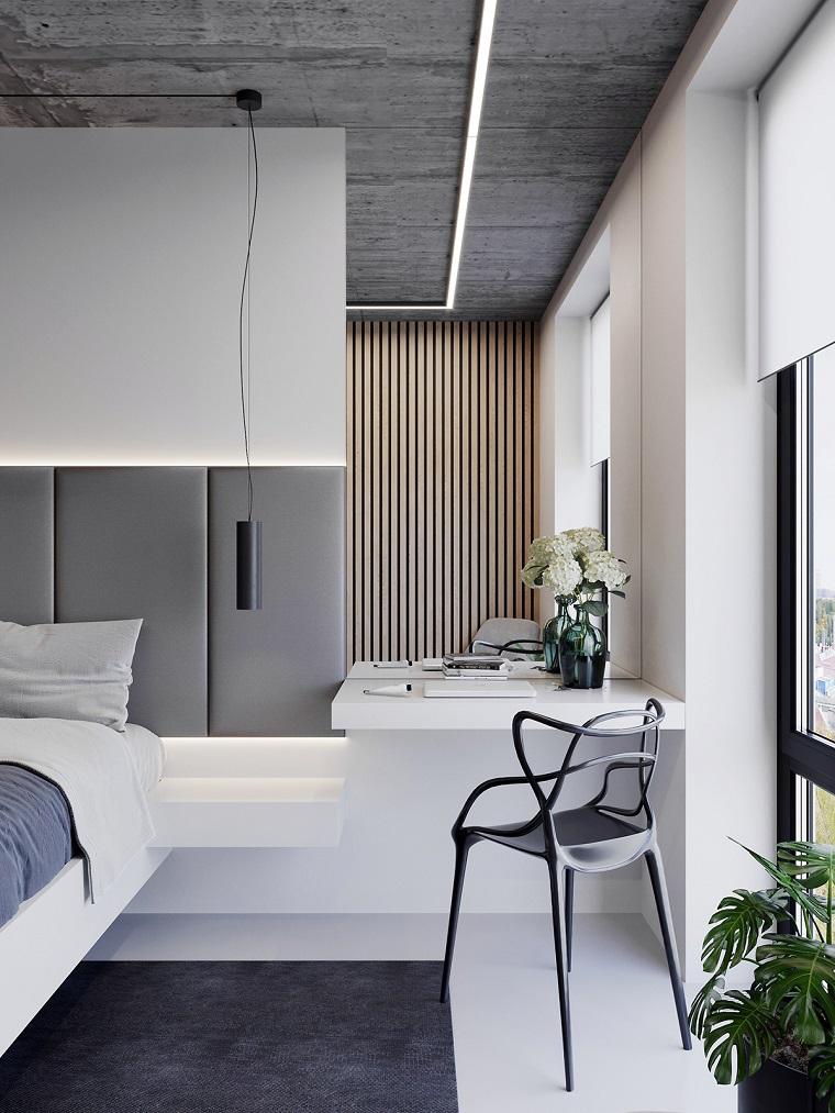 Pareti colorate camera da letto, comodino sospeso, lampada sospesa a filo
