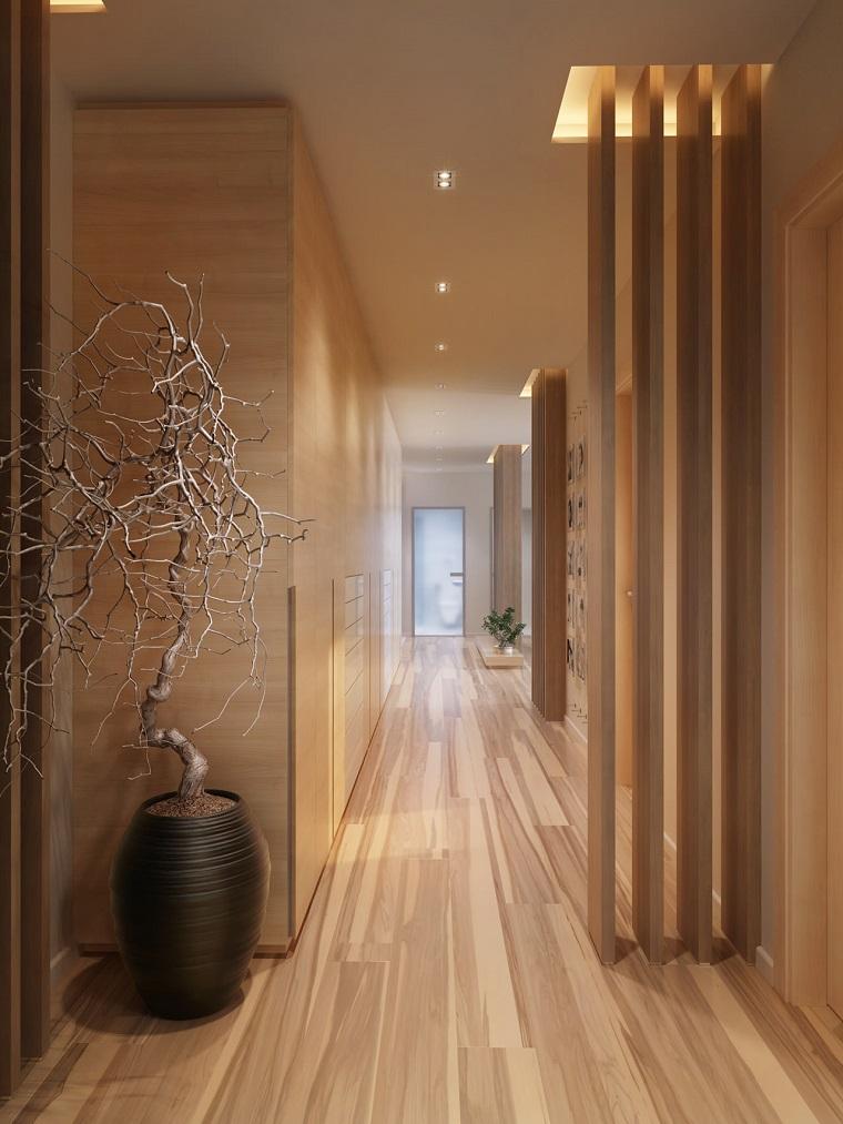 corridoio elegante raffinato inserti legno